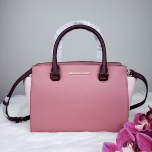 🌺NWT Michael Kors MD Selma Satchel bag rose multi